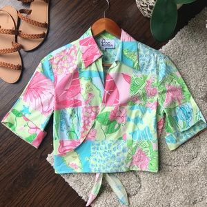 Vintage Lilly Pulitzer Tropical Floral Wrap Top